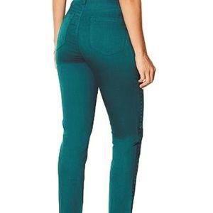Diane Gilman side striped green/black skinny jeans